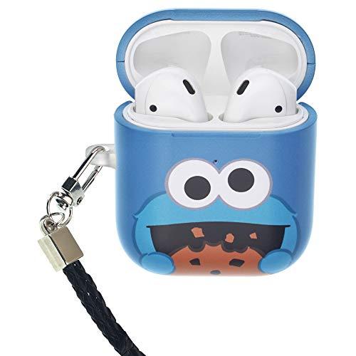 Sesamstraße AirPods Hülle mit Umhängeband, schützende Hartschalenhülle aus Polycarbonat mit Loch [vorne LED sichtbar] Zubehör kompatibel mit Apple Airpods 1 & AirPods 2 Cookie Monster blau