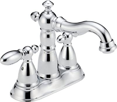 Delta Faucet Victorian Centerset Bathroom Faucet Chrome, Bathroom Sink Faucet, Diamond Seal Technology, Metal Drain Assembly, Chrome 2555-MPU-DST