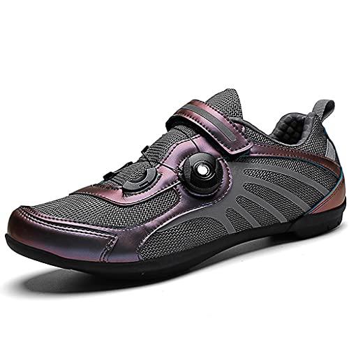 YUHAI Zapatillas de Ciclismo para Hombre y Mujeres, Tiras Reflectantes Ligeras al Aire Libre SPD Ciclismo Zapatos de Ciclismo, spin Antideslizante Shoestring Sports,Grey-42(UK 8)