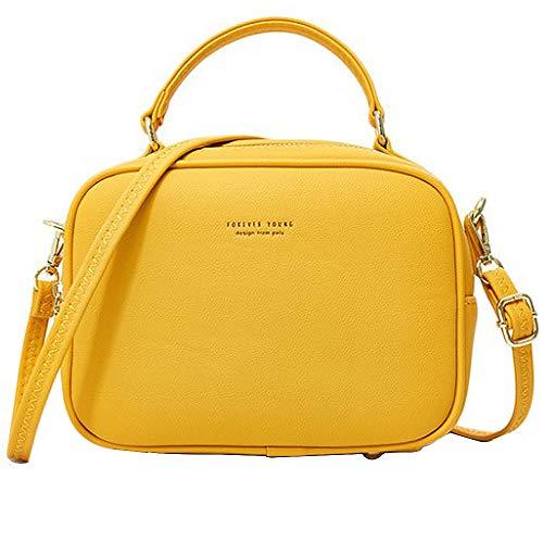 WANYIG Handy Umhängetasche Damen PU Leder Schultertasche Klein Reißverschluss Handtasche Crossbody Bag Frauen Brieftasche Cross-Body Tasche(Gelb)