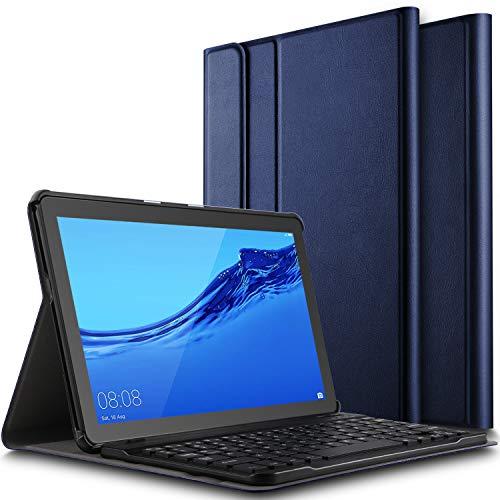ELTD Tastatur Hülle für Huawei MediaPad T5 10 (Deutsches QWERTZ-Layout),PU Leder Schutzhülle mit magnetisch Abnehmbarer Kabellose Tastatur für Huawei MediaPad T5 10 10.1 Zoll 2018 (Blau)