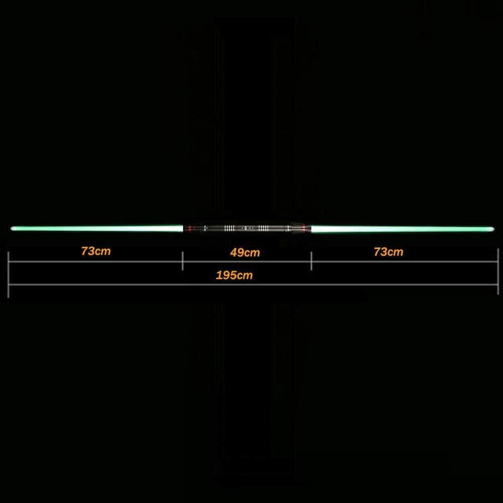 Double-Edged Lightsaber Metal Toy Sword Luminous Sword Met Een Totale Lengte Van 195cm (Verwijderbaar Blade)-Zilver Handgreep-groen Licht Zwart handvat gouden licht