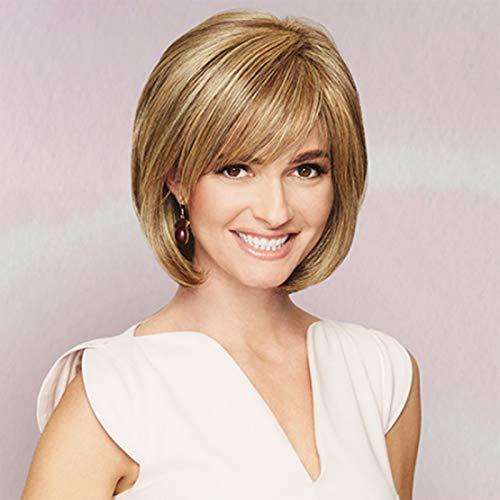 Frauen Gerade Kurze Bob Stilvolle Hitzebeständige Synthetische Natürliche Mix Blonde Farbe Volle Haar Perücke