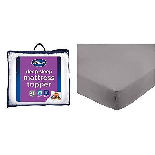 Silentnight Deep Sleep Mattress Topper, White, Super-King & AmazonBasics Microfibre Fitted Sheet, Super King, Dark