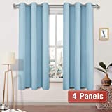 DWCN Blackout Curtains Room Darkening Thermal Insulated Grommet Window Curtain for Bedroom Living Room 42 x 63 inches Long 4 Panels, Light Blue Thick Curtain