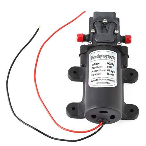 Micro bomba de diafragma, 24V 5L/min Flujo de líquido Mini bomba de agua eléctrica 1.5m Succión 60W para pulverización de agua Pulverización de pesticidas, máquinas de llenado, humidificadores