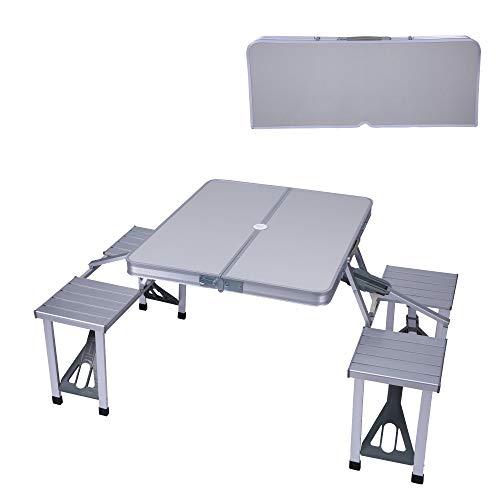 Koreyosh Folding Camping Table Chair Set, Aluminum Suitcase Portable Camping Picnic Table with 4 Seats,Umbrella Hole for Party, BBQ, Beach(Silver)