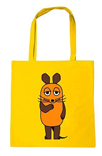 Logoshirt Die Maus - Die Sendung mit der Maus Baumwolltasche - Stofftasche mit Druck und langen Tragegriffen - gelb