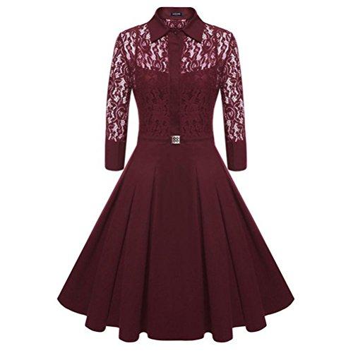 YALI (Volk Fünf Punkte-Muffe Anschluss von Spitze Kleid XXL Vin Rouge