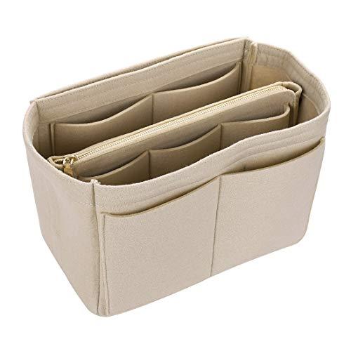 Pinji Organizador Bolsos para Mujer, Bolso Monedero y Bolso Organizador de Fieltro, Organizador Bolso Insertar Bag in Bag con Cinturón de Llaves para Mujer