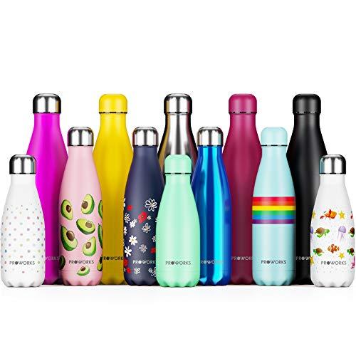 Proworks Bottiglia Acqua in Acciaio Inox, Senza BPA Vuoto Isolato Borraccia Termica Metallo per Bevande Calde per 12 & Fredde 24 Ore, Borraccia per Sport - 500ml UVA (Coperchio d'Argento) (Assortito)
