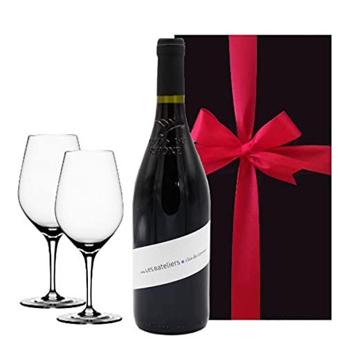 【お祝い】 誕生日 結婚祝い 結婚記念日 【ワインとグラスのギフト】 赤ワイン フランス ローヌ 辛口 750ml ペアグラス 「レ・バトリエ」 ビオワイン BIO 自然派 オーガニック ドイツ シュピゲラウ ワイングラス 2脚 【ギフト】贈答用 贈り物