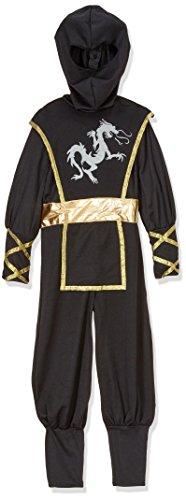 Kostüm F516-002 Ninja Kostüm 5-7 Jahre 116 cm schwarz und gold