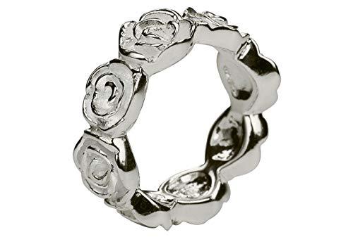 SILBERMOOS Ring Damenring Rosenring Rose Blume Blüte matt glänzend Sterling Silber 925, Größe:56 (17.8)
