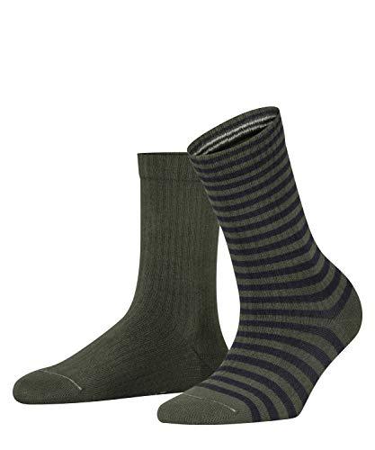 ESPRIT Damen Sporty Stripe 2-Pack W SO Hausschuh-Socken, Grün (Fire Tree 7400), 39-42 (2er Pack)