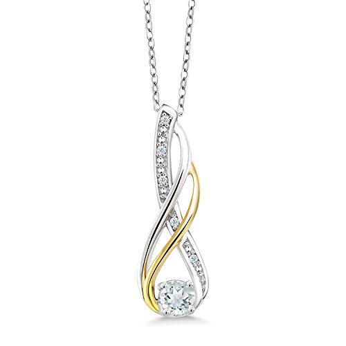 Gem Stone King 2 Tone 10K Yellow Gold And 925 Sterling Silver Sky Blue Aquamarine and Diamond Infinity Pendant Necklace (0.26 Ct Round with 18 Inch Chain)
