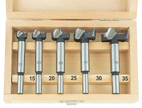 ENT 25250 5-tlg. Kunstbohrer Set WS - Ø 15-20-25-30-35 mm - Bohrer für saubere und maßhaltige Bohrlöcher in Weichholz