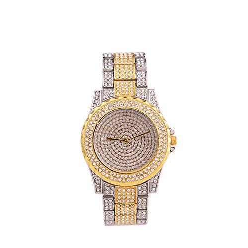 Reloj de pulsera de oro real con diamantes llenos de cristal para Dama de cuarzo de las mujeres 1pc