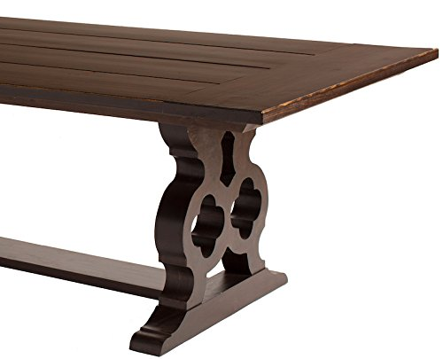 JAMES + JAMES Carved Trestle Pedestal Dining Table (72' x 44', Midnight Stain)