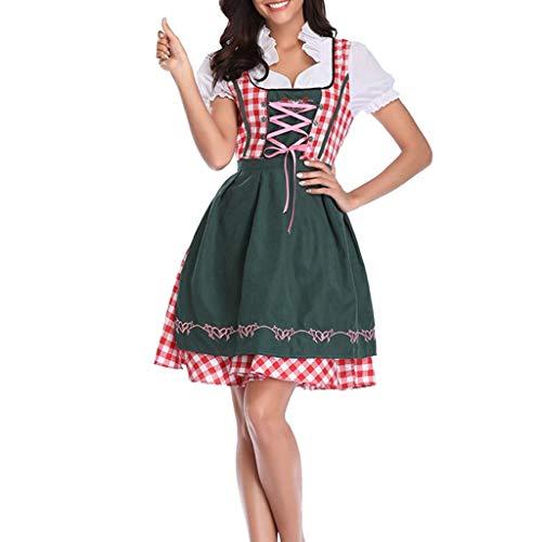 Eaylis Cosplay Kleid Oktoberfest DienstmäDchen KostüM KostüM Kleid GrüN Knie Lange Plaid Print Beinhaltet 1PC Kleid + 1 Schürze