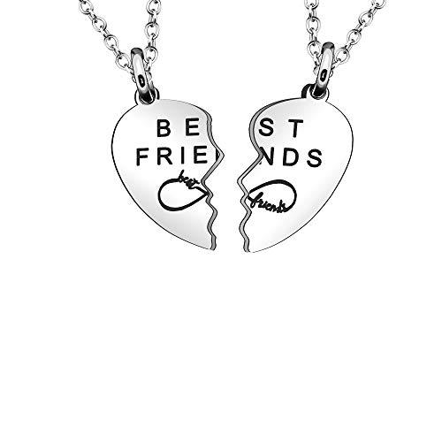 """Maxforever - Collane con ciondolo a forma di cuore diviso in due, con scritta """"Best Friends"""", colore: argento"""