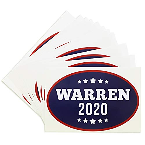 Juvale Warren for President 2020 Bumper Sticker (12 Pack), 6 x 4 Inches