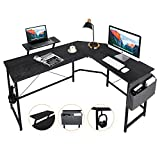AuAg L Shaped Office Computer Desk with Storage Bag & Monitor Stand, Home Corner Gaming Desk, Study PC Writing Table Workstation (Black)