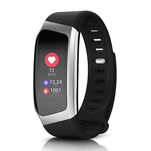 Yarrashop Fitness Tracker, Touchscreen IP67 Wasserdicht Armbanduhr, Pulsmesser Schlafmonitor Schrittzähler Kalorienzähler Vibrationsalarm Aktivitätstracker für iOS Android Damen Herren (Schwarz)