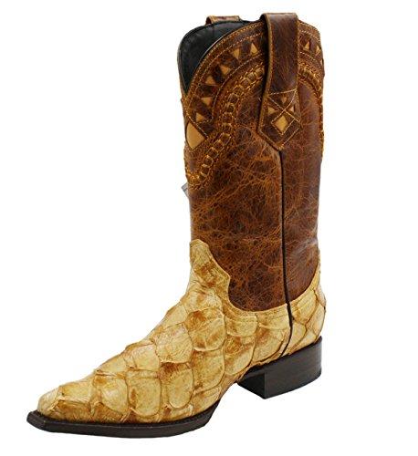 Men's Snip Toe Genuine Fish Skin Leather Cowboy Western Boots_Mango_8.5