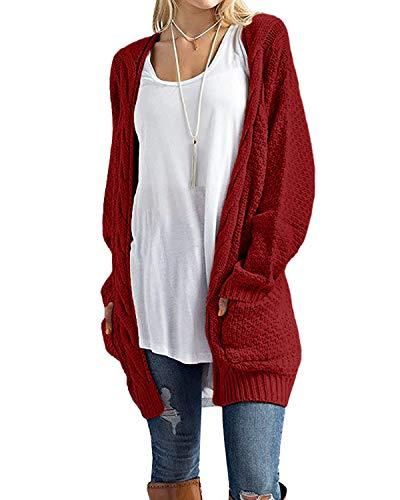 CNFIO Pullover Damen Strickjacke Lässig Casual Cardigan Langarm Outwear mit Taschen Mantel Jacke Winter Rot XXL