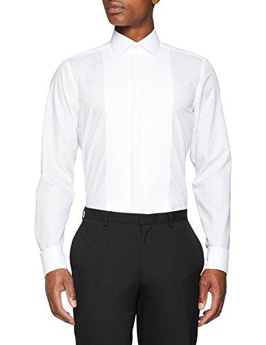 Seidensticker Herren Modern Langarm mit Kent-Kragen Umschlagmanschette bügelfrei Smokinghemd, Weiß (Weiß 1), 40