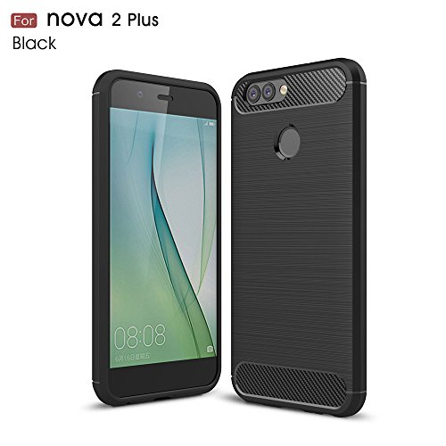 Huawei Nova 2 Plus Hülle, MHHQ Flexiblem Ultra Slim Carbon Fibre TPU Hülle Silikon Hybrid Schutzhülle Kohlenstoff-Fasern Tasche Slim-Fit Cover für Huawei Nova 2 Plus -Schwarz