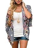 Women's Chiffon Floral Kimono Cover Ups Tops Beach Lightweight Summer Cardigans Thin Sheer Boho 3/4 Sleeve Shirts Small Deep Gray