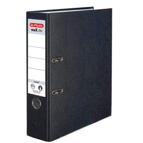 Herlitz 9942699 Ordner maX.file protect A4 8cm schwarz, PP-Kunststoffb./Papier hellgr.besch. 5er Packung
