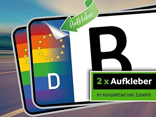 rednow 2 Stück Nummernschild Kennzeichen Aufkleber EU Feld in Regenbogen-Farben überkleben