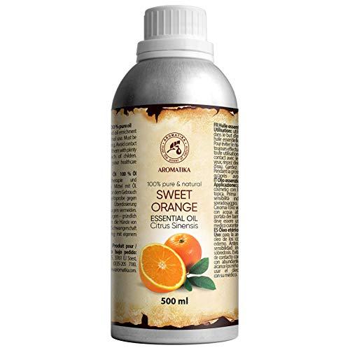 Orangenöl 500ml - Citrus Sinensis - Brasilien - 100% Reines & Natürliches Ätherisches Orangen Öl - für Guten Schlaf - Duftlampe - Körperpflege - Aromatherapie - Raumduft - Kosmetikanreicherung
