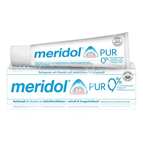 meridol Zahnpasta Pur, 1 x 75 ml - antibakterieller Effekt, Zahncreme für gesunde Zähne & Zahnfleisch, mit Fluorid & natürlichem Eukalyptusöl