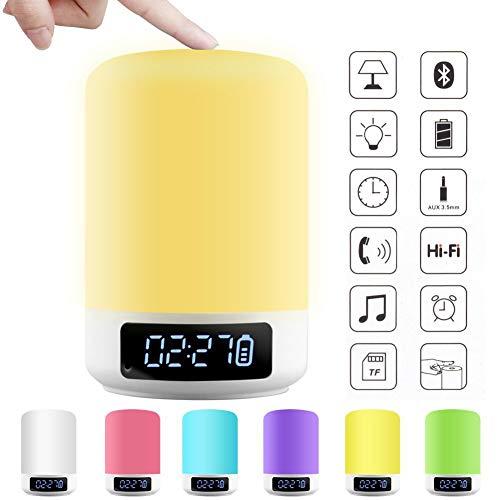 MIRC Wireless Bluetooth Speaker Colorful LED Night Light Outdoor Bedside Alarm Clock