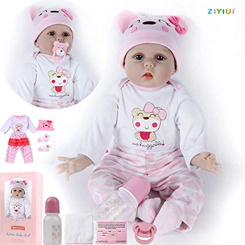 ZIYIUI DOLL 22 Pulgadas 55 cm Realista Reborn Babys Muñecas Chica Suave Juguetes de Silicona Realista Recién Nacido Niño Bebé Muñeca de Regalo para Edades 3+