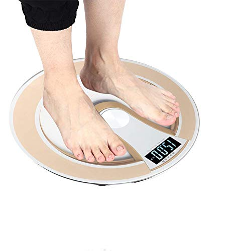 Digital Body Weight Scale,Round Intelligent Electric Digital Weight Body LCD Display Scale High Precision Scale Step-On Technology ,Bathroom Scale(Gold)