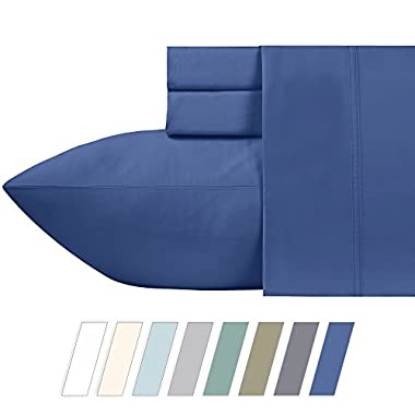 California Design Den 600 Thread Count 100% Cotton Sheets – True Blue Long-staple Cotton Full Sheets, Fits Mattress Upto 18'' Deep Pocket, Sateen Weave, Soft Cotton 4 Piece Bed Sheets Set