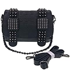 main pu leather material, soft and waterproof, eaty to clean. punk rivets decoration, 3D skull print design, current fashion. 3carry ways as a crossbody bag , clutch wallets and cosmetic makeup organizer bag, enough room to place your neccessaries su...