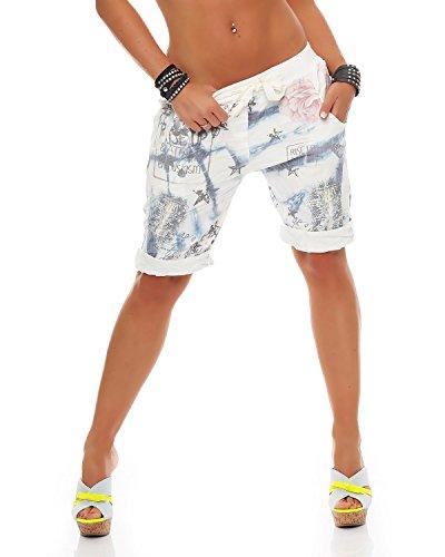 Zarmexx Damen Bermuda Shorts Baggy Hose Boyfriend Freizeithose Kurze Hose mit Blumendruck Baumwolle One Size (blau)