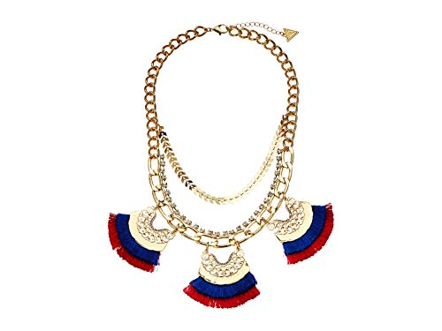 GUESS Dramatic Statement Necklace with Fabric Tassels Gold/Blue/Red One Size