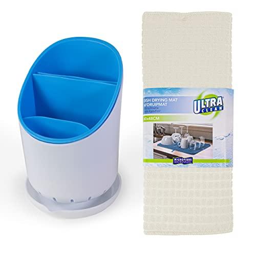 Escurridor cubiertos azul ideal para organizar tu fregadero y cocina. Escurre cubiertos de plastico escurrecubiertos con estera antideslizante blanca.