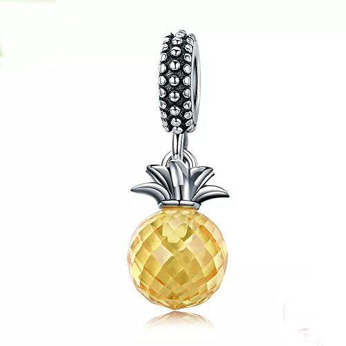 Pineapple Charm 925 Sterling Silver Fruits Charm Beads for Fashion Charms Bracelet & Necklace