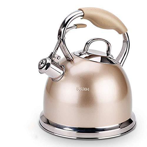 Théière Cuisinière Bouilloire Cuisinière Bouilloire, Bouilloire épais en Acier Inoxydable Whistling Kettle Ménage gaz Cuisinière à Induction de gaz for Bouilloire 3L (Color : Brown, Size : 18x20.5cm)