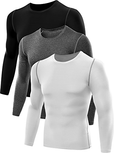 Neleus Men's 3 Pack Athletic Compression Sport Running T Shirt Long Sleeve Base Layer,Black,Grey,Whie,US M,EU L