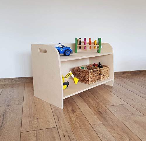 Mami   Estantería Montessori de madera para niños   Dormitorio de niños   Porta objetos juguetes peluche libros   Estantería para niños   2 estantes   Modelo Petalo