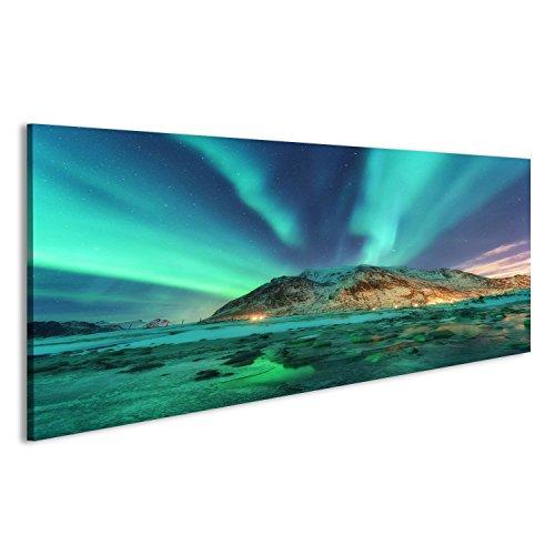 Cuadro Cuadros Aurora. Aurora Boreal en Las Islas de Lofoten, Noruega. Cielo Estrellado con Luces Polares. Paisaje de Invierno de Noche con Aurora, mar con reflexión de Cielo, Pied
